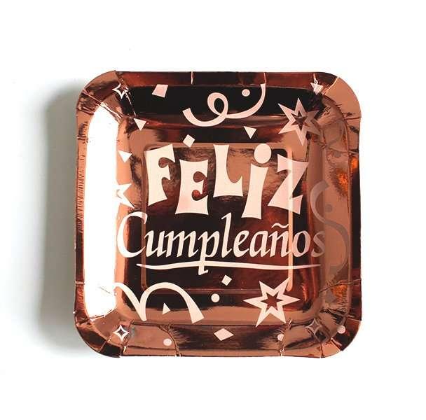 7in Biodegradable Metallic Rose Gold  Feliz Cumpleaños Plates 10ct