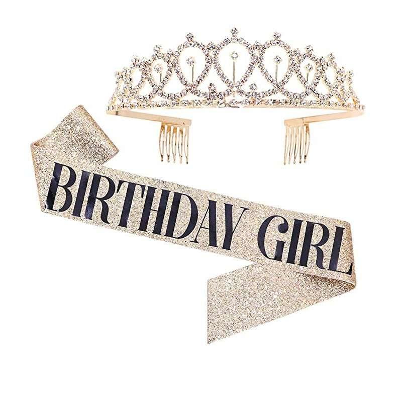 """Birthday Queen"" Sash & Rhinestone Tiara Kit"